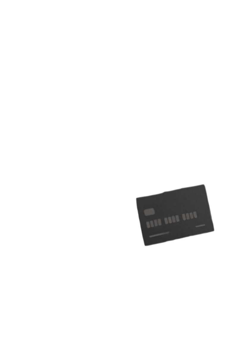Papercraft credit card used to checkout on phone