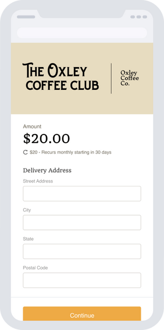 Oxley Coffee custom MoonClerk checkout design